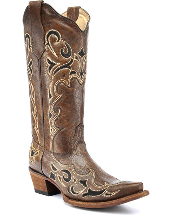 Circle G Women's Honey Side Embroidered Boots Snip Toe L5247