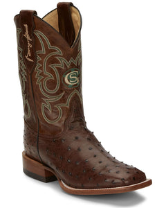 Justin Men's Poteet Tobacco Western Boots - Wide Square Toe