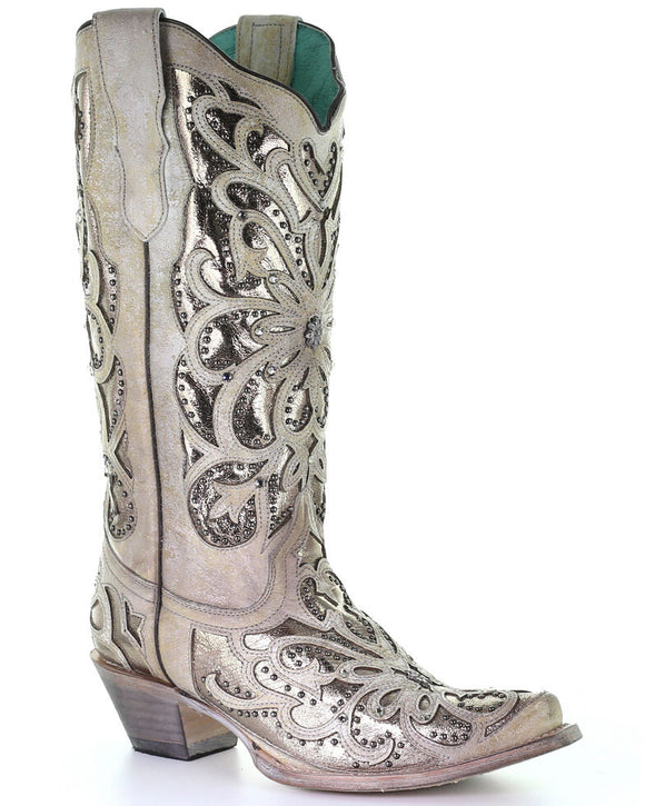 Corral Women's Metallic Inlay Western Boots - Snip Toe