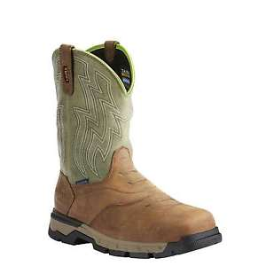 Ariat® Men's Rebar Flex Western H2O Rye Brown & Green Composite Toe Boots 10021486