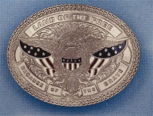 Nocona Silver Oval American Eagle Belt Buckle 37916
