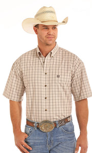 Short Sleeve Poplin Check Button Down