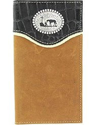 Nocona Men's Croc Print Overlay Cowboy Prayer Concho Rodeo Wallet