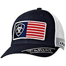 Ariat Brand USA Flag Patch Navy Blue With White Mesh Snapback Hat - 1517603