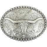 Nocona Men's Genuine Silver Plated Steer Head Oval Buckle