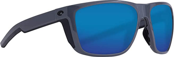 Costa Del Mar - Ferg - Shiny Grey Frame-Blue Mirror 580 Glass Polarized Lenses