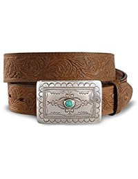 Tony Lama Women's Navajo Spirit Embossed Leather Belt Aged Bark