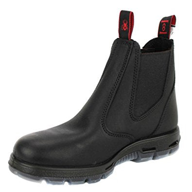 Redback Men's Bobcat UBBK BLACK Elastic Sided Soft Toe Leather Leather Work Boot