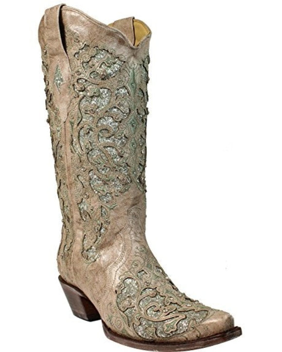 CORRAL WOMENS WHITE/GREEN GLITTER INLAY WEDDING BOOT A3321