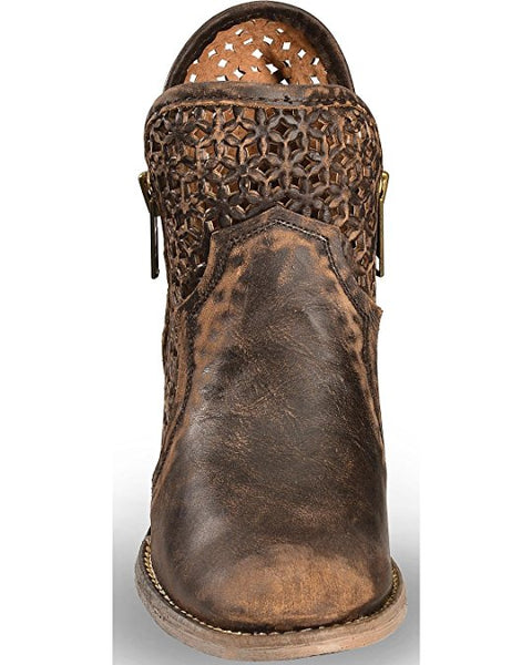 Circle G by Corral Women's Brown Distress Cutout Round Toe Bootie Q5021