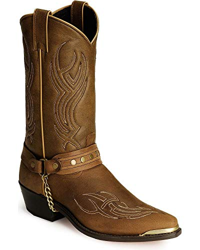 Sage Mens Brown Harness Western Cowboy Boots