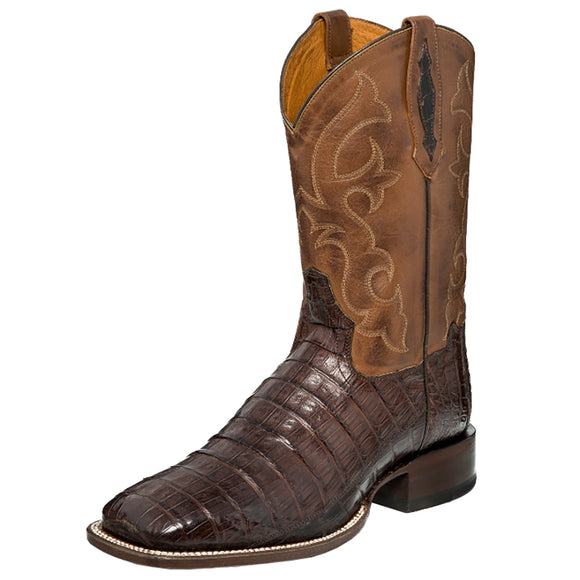 Men's Tony Lama Cafe Pieced Caiman Belly Tail w/Ranch Top Boots