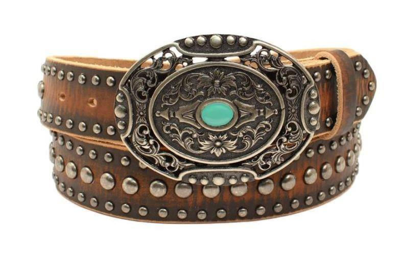 Ariat Women's Brown Studded Leather Belt A1529002