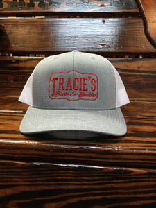 Tracie's Logo Red Embroidered Richardson Trucker Hat Heather Grey/White Mesh
