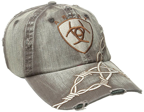 Ariat Distressed Brown with Barbwire Logo Cap