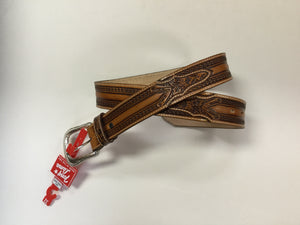 Tony Lama Men's Tooled Tan Wild Bill Belt C42515