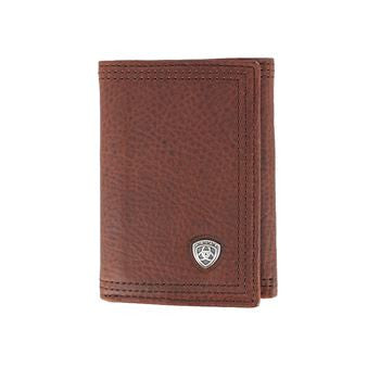 Ariat Men's Tri-Fold Leather Wallet Sunshine Brown