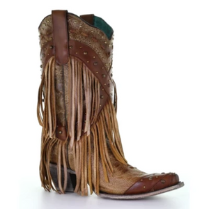 Women's Corral Brown Overlay & Studs & Fringe Boot A3845