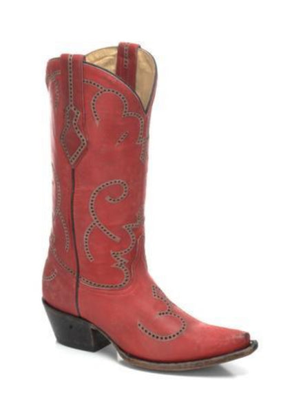 Corral Ladies Red Cowhide Leather Cowgirl Boots