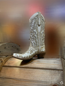 Corral Ladies White Glitter Inlay/Stud C3598