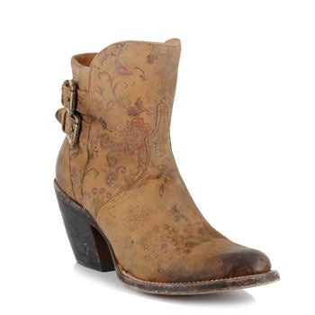 Lucchese Bootmaker Women's Catalina-Brown Floral Printed Shortie Ankle Bootie