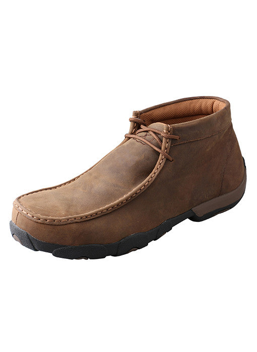 Men's Driving Moccasin – Distressed Saddle Steel Toe