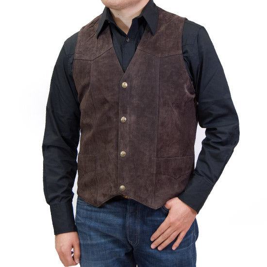 Cripple Creek Snap Suede Leather Vest Taupe and Chocolate