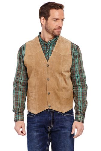 Cripple Creek Snap Suede Leather Vest Taupe