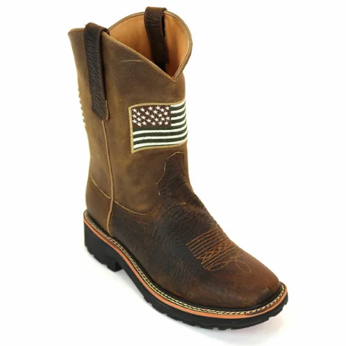 RockinLeather Men's American Flag Soft Toe Work Boots