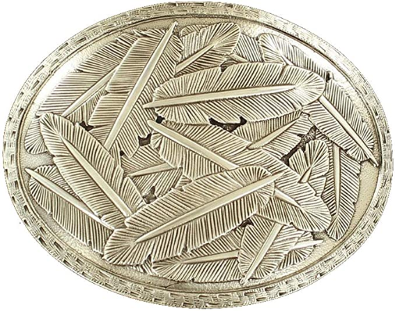 Nocona Mens Oval Stamped Edge Scattered Feathers Buckle