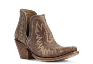 Ariat Women's Dixon Brown Snip Toe Western Bootie Distressed Brown