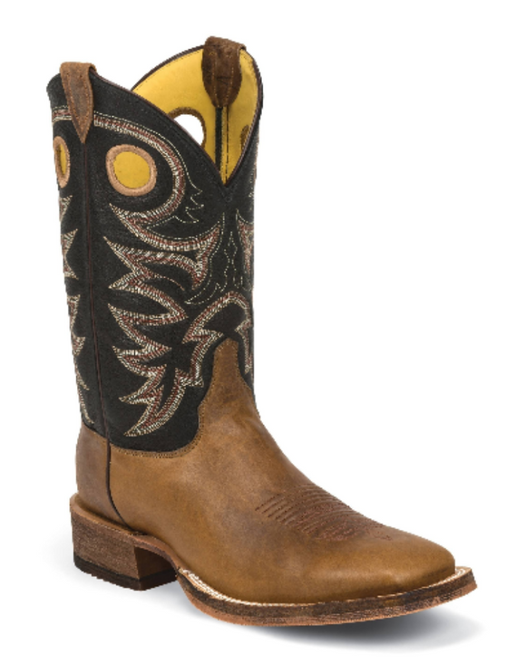 MEN'S TOBACCO COWHIDE BENT RAIL® BOOTS WITH BLACK SPIRAL TOPS