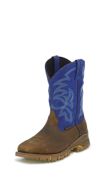 Tony Lama Men's Roustabout Blue Steel Toe Waterproof 11