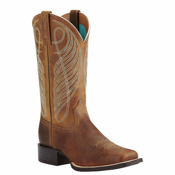 Ariat Ladies Round Up Wide Square Toe Powder Brown Boot