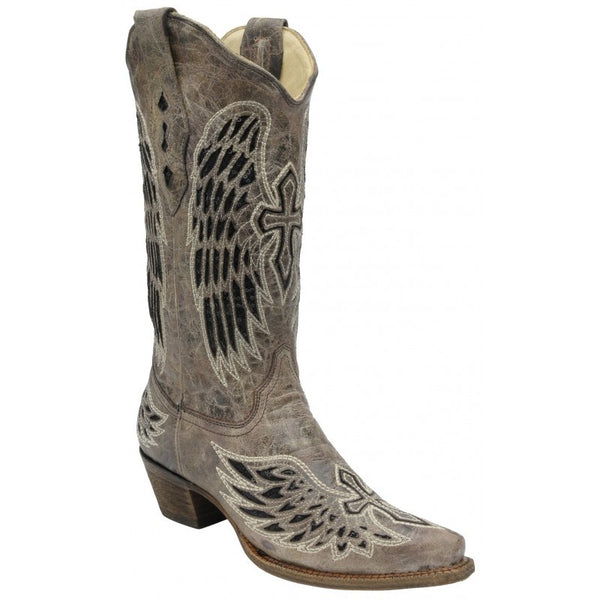 Women's Corral Black Wing with Cross Sequence