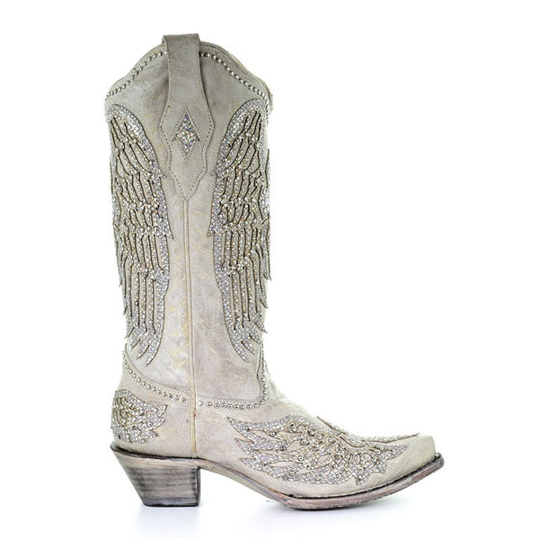 Corral Ladies Angela White Glitter Wing & Cross Studded Boots A3571