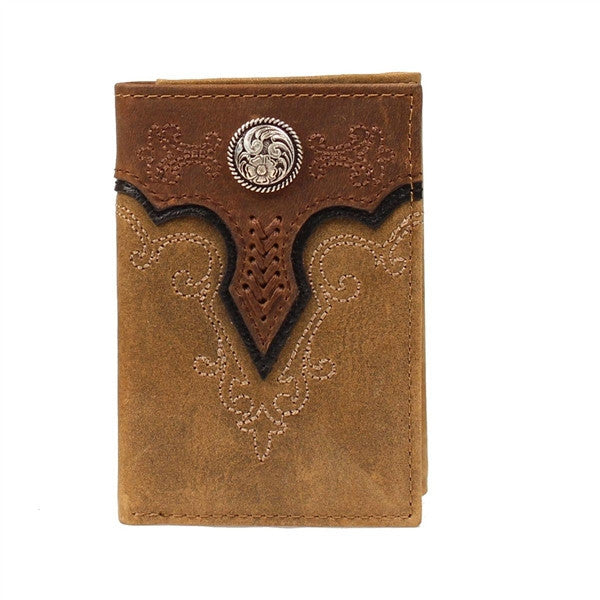 Ariat® Men's Medium Brown Distressed Concho Overlay Trifold Wallet