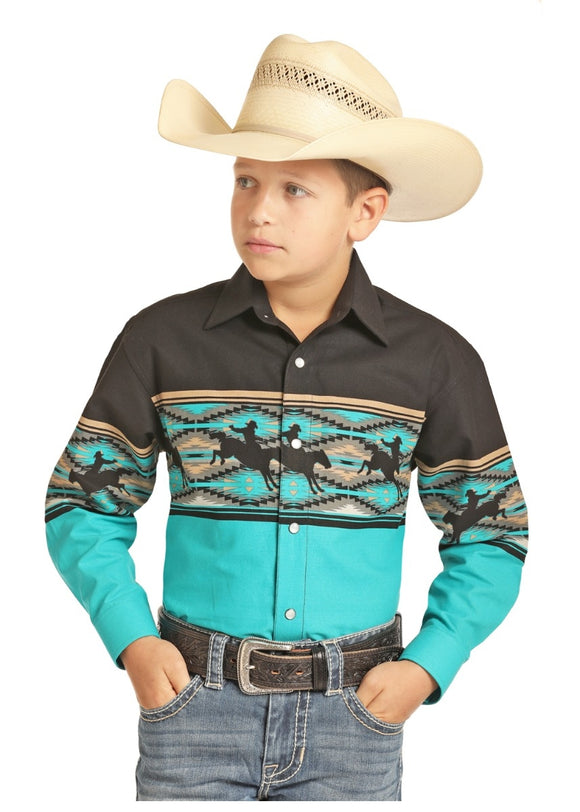 Rock and Roll Kid's Turquoise/Black Aztec Bronc Print Long Sleeve Collared Shirt