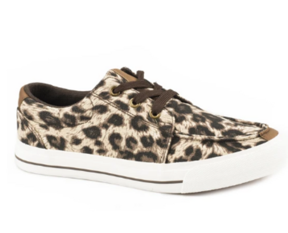 WOMENS BLACK TAN AND BROWN LEOPARD CANVAS