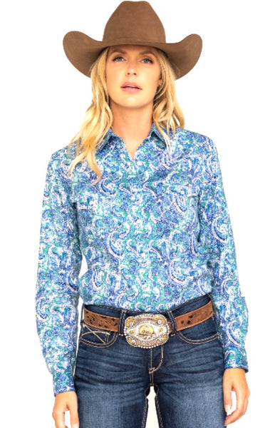 Rough Stock by Panhandle Women's Bellaria Vintage Print Long Sleeve Western Shirt