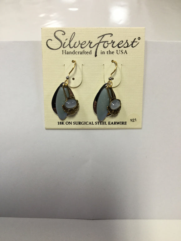 Silver Forest Earrings layered teardrop with blue pearl NE-0200
