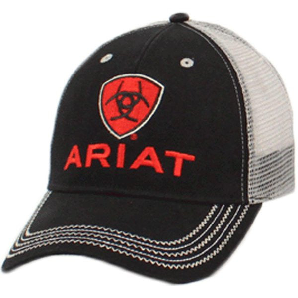 Ariat Mens Black and Red Logo Mesh Baseball Cap