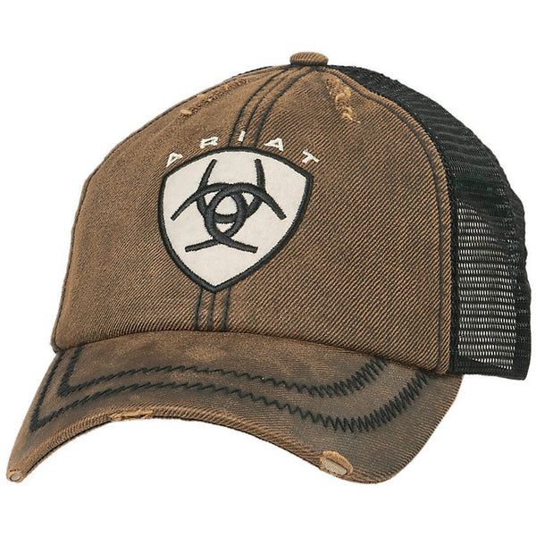 Ariat Distressed Oilskin Brown Patch Logo Cap