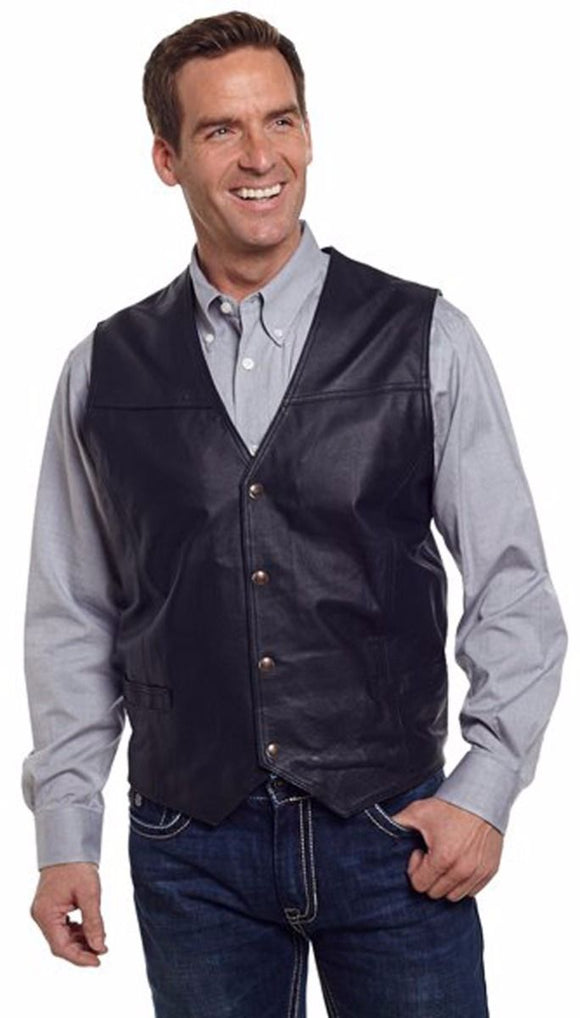 Cripple Creek Black Snap Front Boar Nappa Leather Western Mens Vest (ML1059)