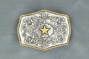 Nocona Two Tone Star & Floral Buckle