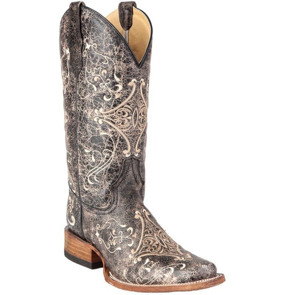 Circle G Women's Crackle Diamond Embroidered Western Boots