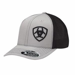 ARIAT Grey and Black Flexfit Logo Baseball Cap by M&F - 1597706