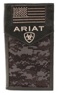Ariat Western Men Wallet Rodeo Leather USA Flag Patch Camo Black A3536401