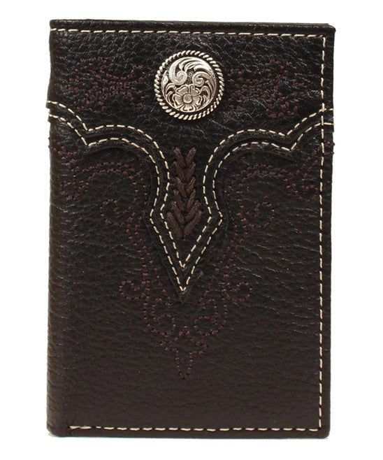 Black Rodeo Embroidered Leather Tri-Fold Wallet