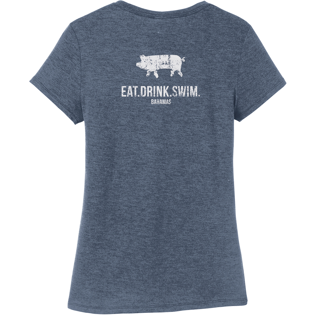 EAT.DRINK.SWIM. (BAHAMAS) Tee: Women's Navy Frost